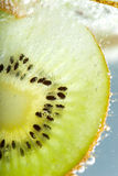 Kiwi dipped in sparkling water Royalty Free Stock Photography