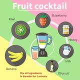 Kiwi e banana della fragola del cocktail di frutta Fotografia Stock Libera da Diritti
