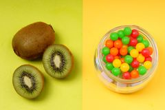 kiwi et/ou sucrerie Images libres de droits