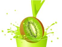Kiwi falling in juice Royalty Free Stock Photography