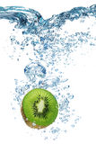 Kiwi falls deeply under water Royalty Free Stock Photo