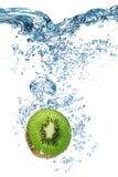 Kiwi falls deeply under water Royalty Free Stock Photo