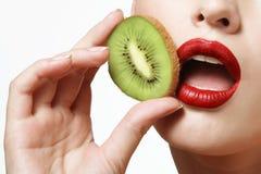 Kiwi and female lips