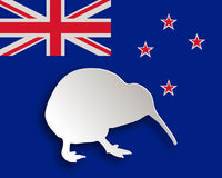 Kiwi on flag Stock Photo