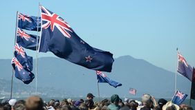 Kiwi Flags at the America's Cup. Kiwi's showing their pride at the 2013 America's Cup Stock Images