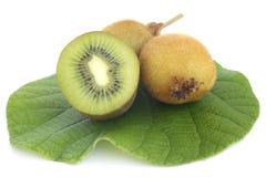Kiwi fresh fruit with green leaf Stock Photo