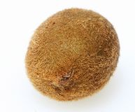 Kiwi fruit. A Kiwi fruit close up, showing the hairy brown skin which protects succulent green flesh and seeds stock photography