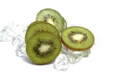 Kiwi fruit. And ice cubes Stock Photo