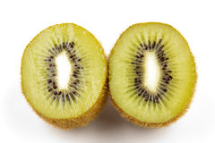 Kiwi fruit. Fresh, ripe Kiwi fruit, cut in halves.  White background Stock Photo