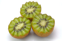Kiwi Fruit. Three Kiwi Fruit closeup on white Stock Image