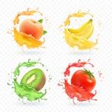 Kiwi fruit, banana, tomato, peach apricot juice. Realistic fresh splashes vector fruits icon set.  royalty free illustration