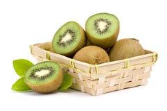 Kiwi fruit in basket Royalty Free Stock Photos
