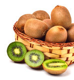 Kiwi fruit in the basket Stock Photos