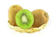 Kiwi fruit in a basket Royalty Free Stock Image