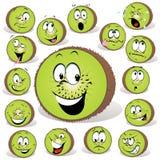 Kiwi fruit cartoon. With many expressions isolated on white background Stock Photo