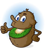 Kiwi Fruit Cartoon Character. A smiling cheerful kiwifruit cartoon character with a green smile and brown fuzzy rind Royalty Free Stock Image