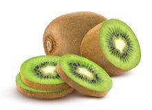kiwi fruit. Collection of whole and cut kiwi  on white background Royalty Free Stock Photography