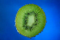 Kiwi fruit covered with bubbles on blue background Royalty Free Stock Images