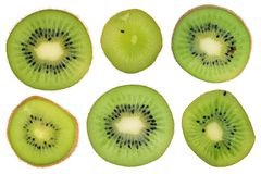 Kiwi Fruit Cross Section Slices Set Isolated Royalty Free Stock Image