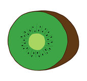 Kiwi fruit. Cute kiwi fruit isolated vector illustration drawing. Green kiwi with brown skin and black seeds Royalty Free Stock Photos
