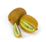 Kiwi fruit with cuts on white Stock Images