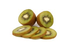 Kiwi fruit - fresh sliced kiwis isolated on white. Background stock image