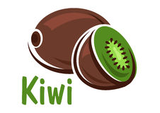 Kiwi fruit with green juicy slice Royalty Free Stock Photos
