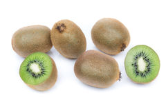 Kiwi fruit of  group. In the section on a white background. Royalty Free Stock Photos