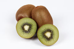 Kiwi fruit and halves on a white background. Kiwi fruit is healthy fruit ,especially weight control and for take care the digestive system royalty free stock photo