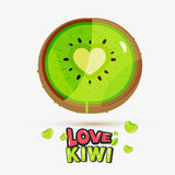 Kiwi fruit has a Heart in centre conme with lovely typographic d Royalty Free Stock Photo
