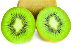 Kiwi fruit and his sliced segments isolated on white background Royalty Free Stock Photography