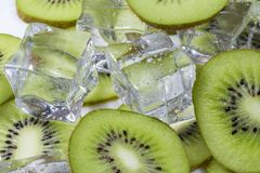 Kiwi fruit with ice. Kiwi fruit slices in a bowl with ice cubes Royalty Free Stock Image