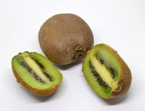 Kiwi fruit isolated on white background. Macro Stock Image
