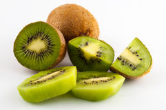 Kiwi fruit isolated on white background, macro. Green Royalty Free Stock Photo