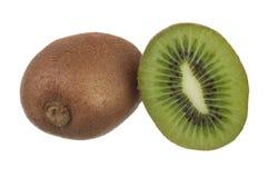 Kiwi fruit isolated on white. Whole kiwi fruit and his sliced segments isolated on white background Stock Photo