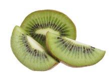 Kiwi fruit isolated on white. Whole kiwi fruit and his sliced segments isolated on white background Stock Photography