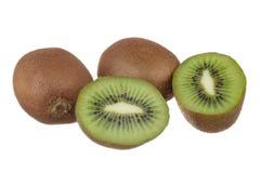 Kiwi fruit isolated on white. Whole kiwi fruit and his sliced segments isolated on white background Stock Images