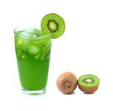Kiwi fruit juice and slice in glass Royalty Free Stock Photo