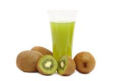Kiwi fruit and juice on white background Stock Photo