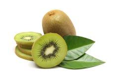 Kiwi fruit and kiwi sliced segments on white background Stock Images