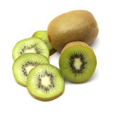 Kiwi fruit and kiwi sliced segments on white background Royalty Free Stock Image