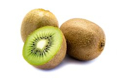 2 kiwi fruits and a sliced ​​kiwi isolated on white background stock image