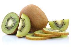 Kiwi fruit kiwis fruits sliced isolated on white Stock Photos