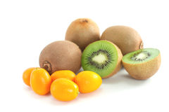 Kiwi fruit and kumquat Royalty Free Stock Image