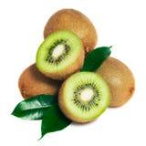 Kiwi fruit and leaves isolated on white Royalty Free Stock Images