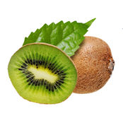 Kiwi fruit with leaves. stock images