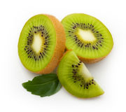 Kiwi fruit with leaves Royalty Free Stock Images