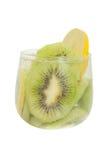 Kiwi fruit and lemon slice with soda water Royalty Free Stock Photos