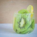 Kiwi fruit and lemon slice with soda water Royalty Free Stock Photo
