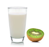 Kiwi fruit and milk  on white background Royalty Free Stock Photography